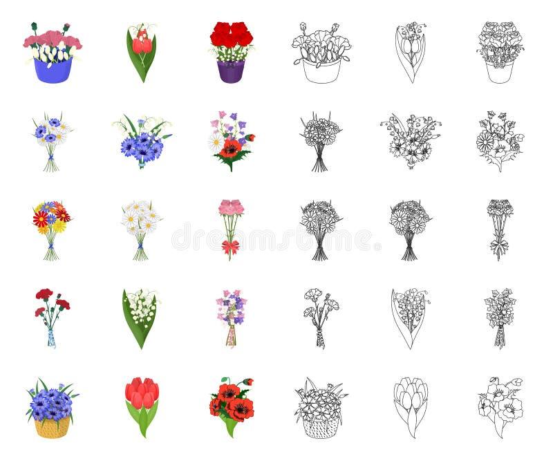 Een boeket van vers bloemenbeeldverhaal, overzichtspictogrammen in vastgestelde inzameling voor ontwerp De voorraadweb van het di royalty-vrije illustratie