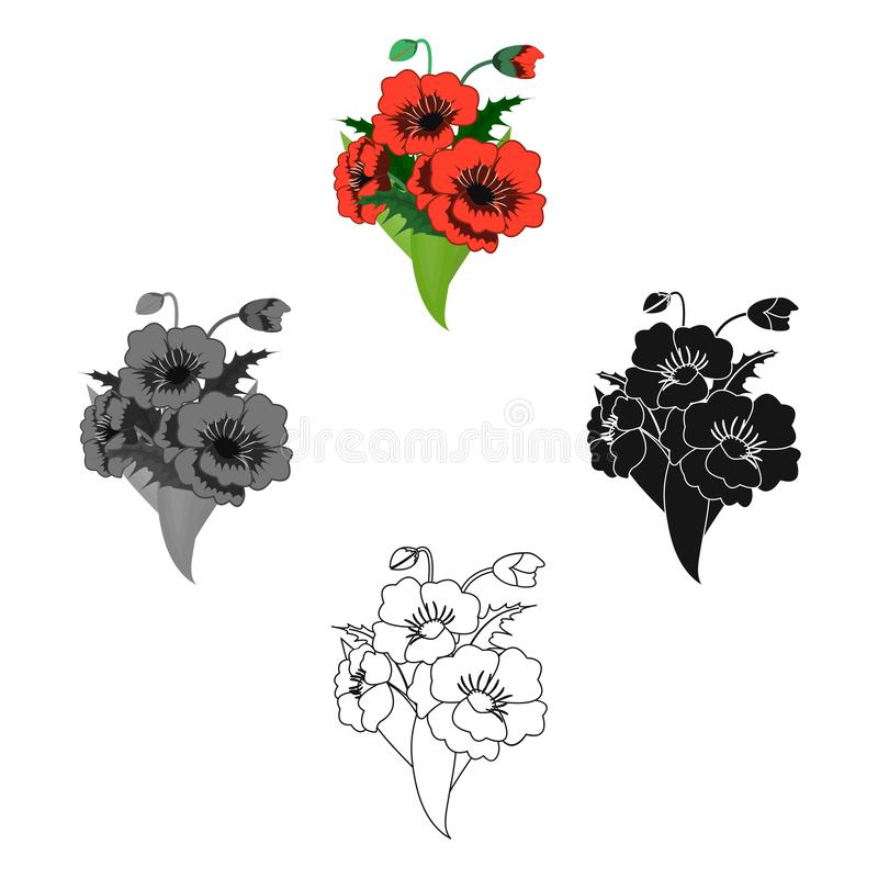 Een boeket van verse bloemen kiest pictogram in beeldverhaal, zwarte uit, zwart, zwart-wit, overzichtsstijl voor ontwerp Boeket v vector illustratie