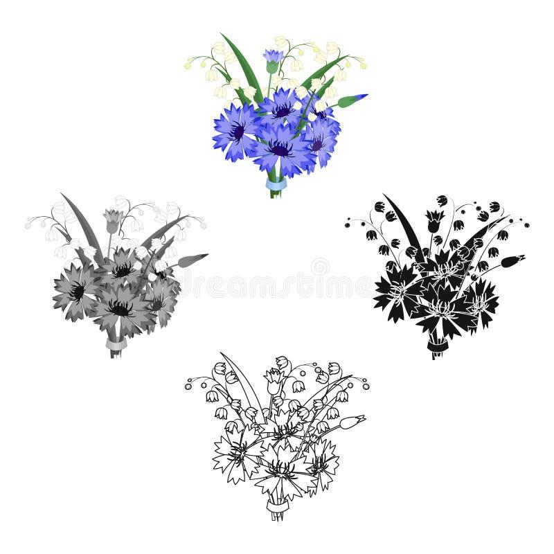 Een boeket van verse bloemen kiest pictogram in beeldverhaal, zwarte uit, zwart, zwart-wit, overzichtsstijl voor ontwerp Boeket v stock illustratie