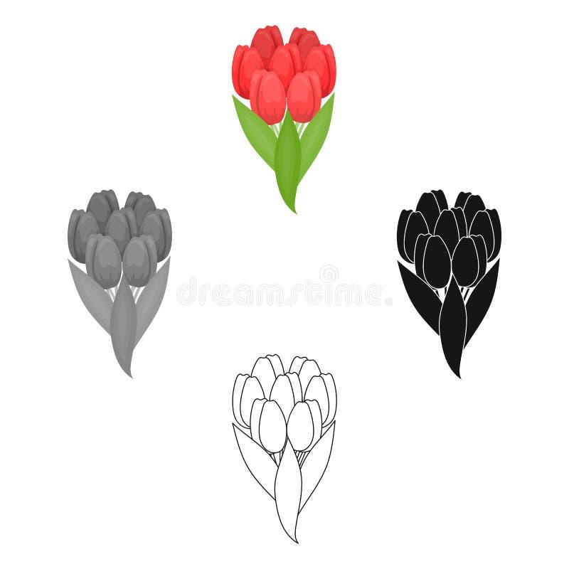 Een boeket van verse bloemen kiest pictogram in beeldverhaal, zwarte uit, zwart, zwart-wit, overzichtsstijl voor ontwerp Boeket v royalty-vrije illustratie