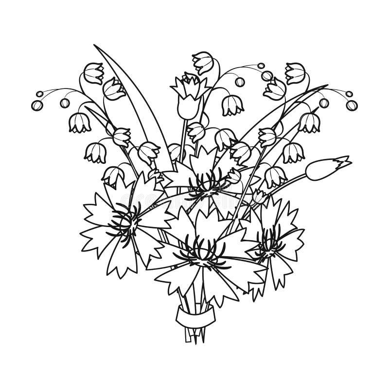 Een boeket van verse bloemen kiest pictogram in overzichtsstijl voor uit ontwerp Web van de de voorraadillustratie van het boeket royalty-vrije illustratie
