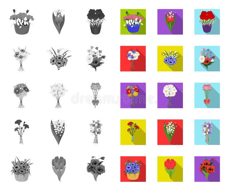 Een boeket van verse bloemen mono, vlakke pictogrammen in vastgestelde inzameling voor ontwerp De voorraadweb van het diverse boe vector illustratie