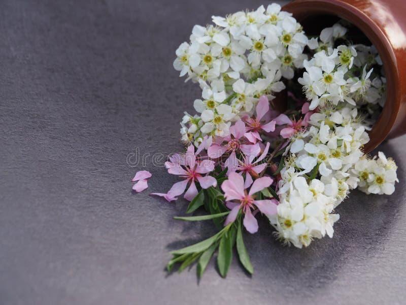 Een boeket van witte en roze bloemen in een ceramische vaas op de donkere lijst royalty-vrije stock fotografie