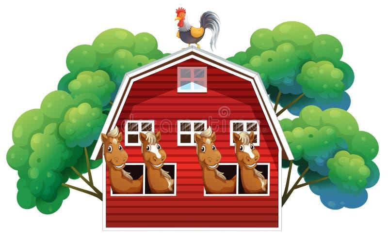 Een boerderij met vier paarden en een haan vector illustratie