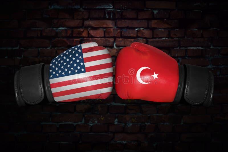 Een bokswedstrijd tussen de V.S. en Turkije royalty-vrije stock afbeeldingen