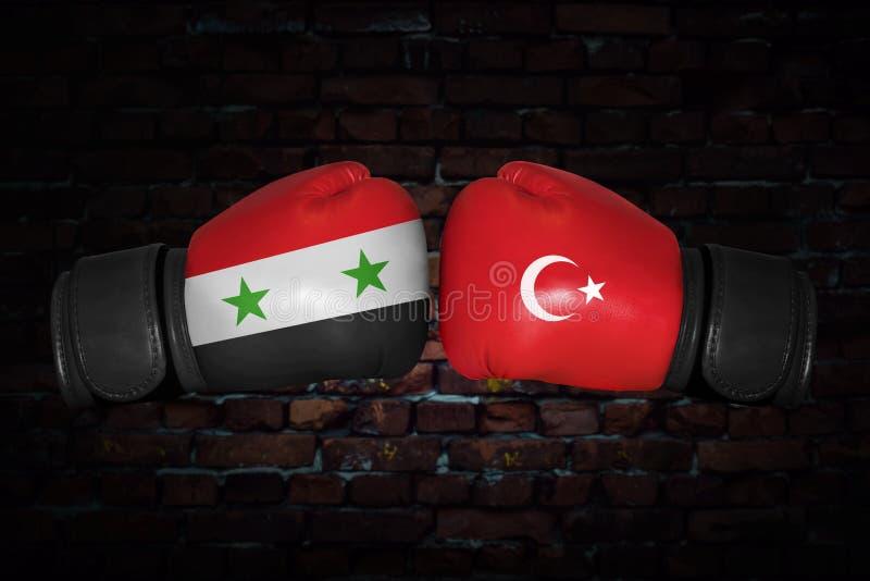 Een bokswedstrijd tussen Syrië en Turkije royalty-vrije stock afbeelding