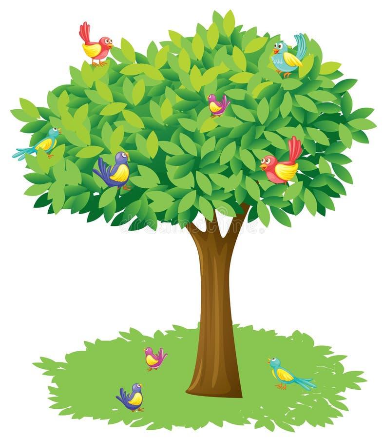 Een boom en vogels vector illustratie