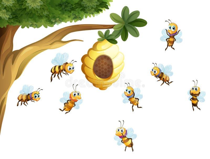 Een boom met een bijenkorf door bijen wordt omringd die royalty-vrije illustratie