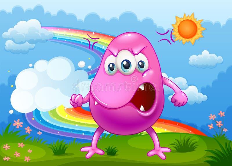 Een boos monster met een regenboog in de hemel stock illustratie