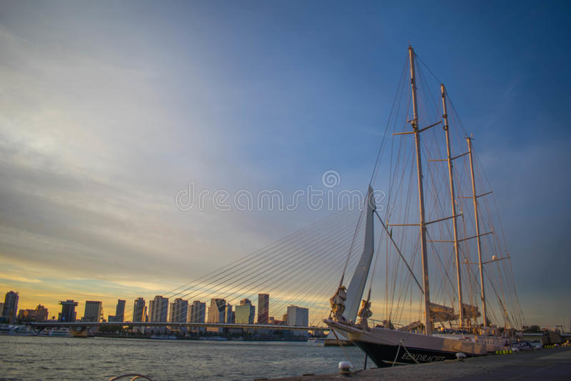 Een boot bij de erasmus brug royalty-vrije stock foto