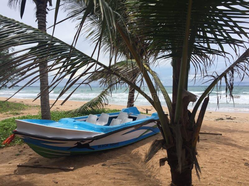 Een boot bij het strand stock afbeeldingen