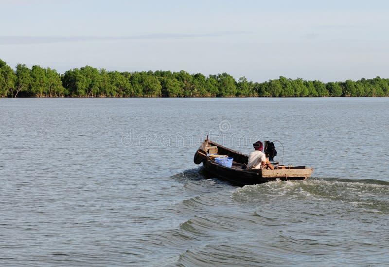 Een boot die op Tien-rivier in Mekong Delta, zuidelijk Vietnam lopen stock afbeelding