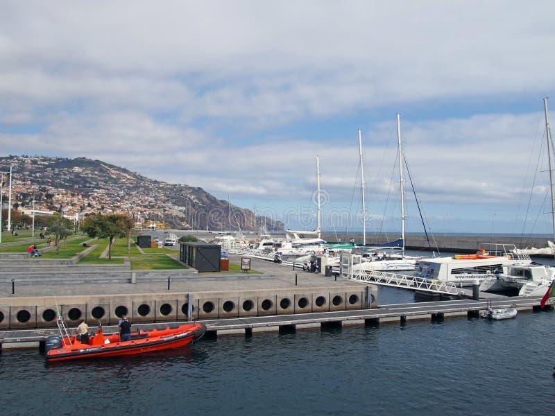 Een boot die tot IFCN behoren het Instituut voor Bosbouw en Natuurbescherming legde in de haven van Funchal met het park van vrij royalty-vrije stock fotografie