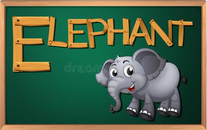 Een bord met een olifant stock illustratie