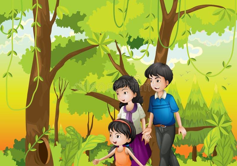 Een bos met een familie stock illustratie