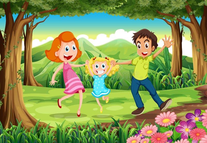 Een bos met een gelukkige familie vector illustratie
