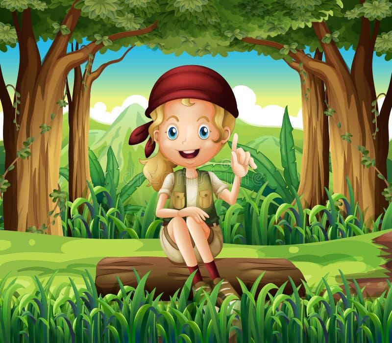 Een bos met een jonge meisjeszitting boven een logboek royalty-vrije illustratie
