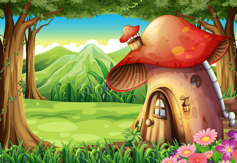 Een bos met een paddestoelhuis royalty-vrije illustratie