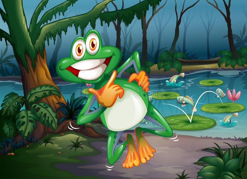 Een bos met een speelse kikker en vissen bij de vijver vector illustratie