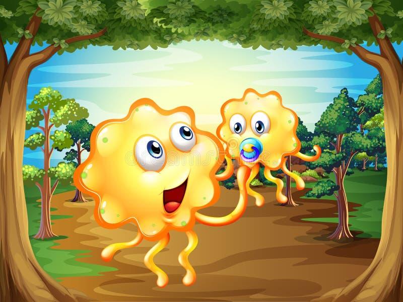 Een bos met twee monsters vector illustratie