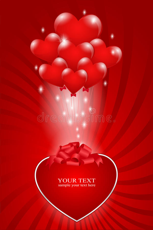 Een bos van ballons - hart stock illustratie