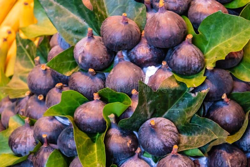 Een bos van de verse fig.vruchten Ficus carica met de bladeren - Beeld royalty-vrije stock foto's