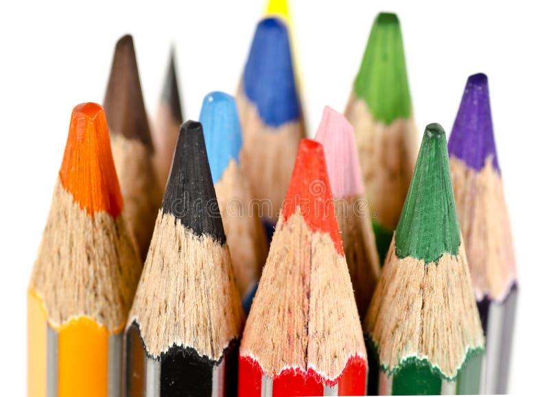 Een bos van kleurpotloden stock afbeeldingen