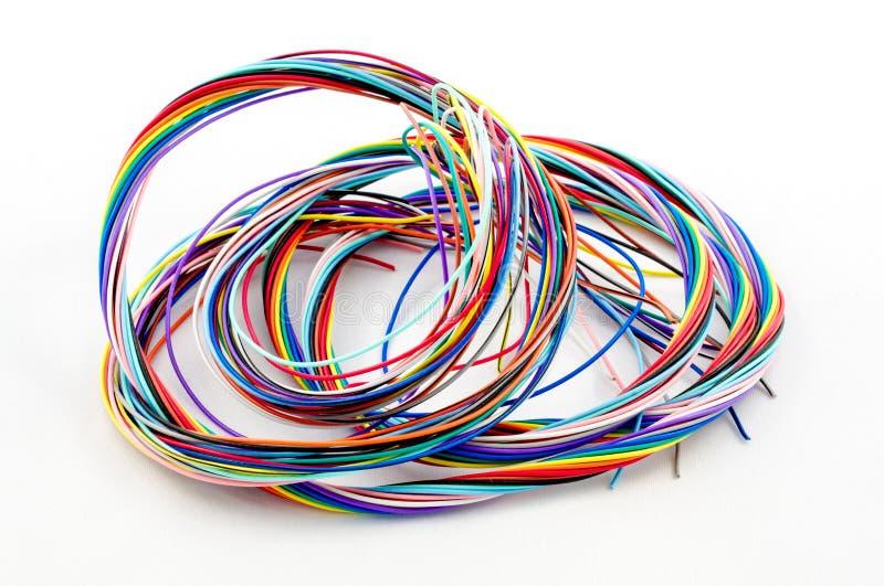 Een bos van kleurrijke kabels stock afbeelding