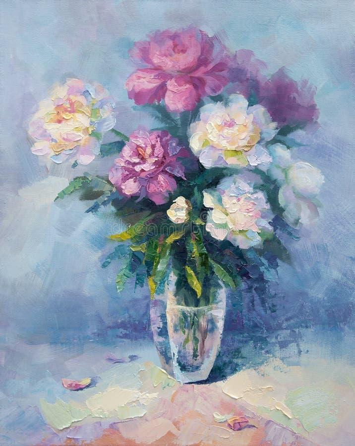Een bos van roze en witte pioen royalty-vrije illustratie