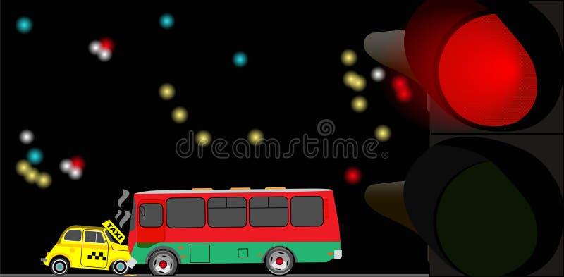 Een botsing van een taxiauto en een bus bij een rood verkeerslicht Vector illustratie stock illustratie