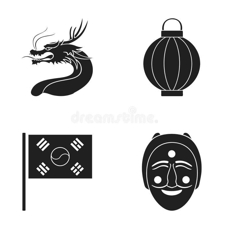 Een brand-ademende draak, een flitslicht, een Zuidkoreaanse nationale vlag, een masker, een Koreaans gezicht in een tatra De reek stock illustratie