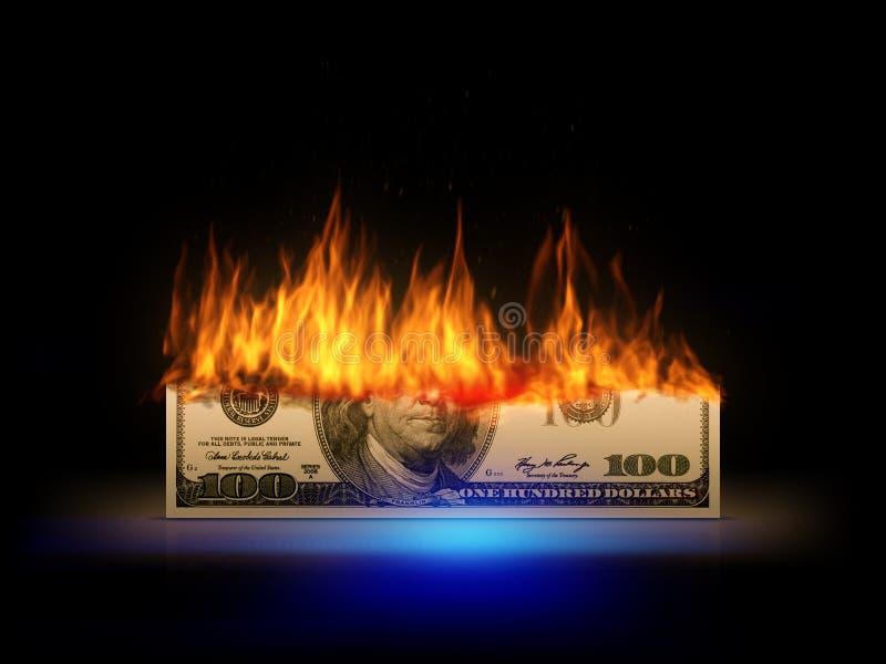 Een brandende 100 dollarrekening vector illustratie