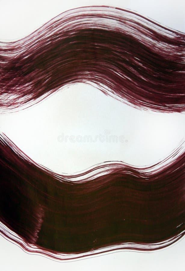 Een brede borstel trekt twee lijnen, een abstracte vertegenwoordiging van een besnoeiing van hout, lippen royalty-vrije stock foto's