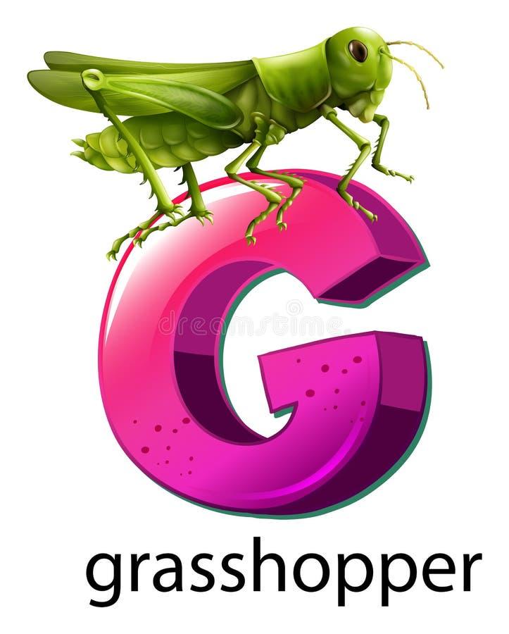 Een brief G voor sprinkhaan vector illustratie