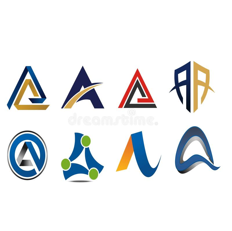 Een Brief Logo Icon Variation royalty-vrije illustratie