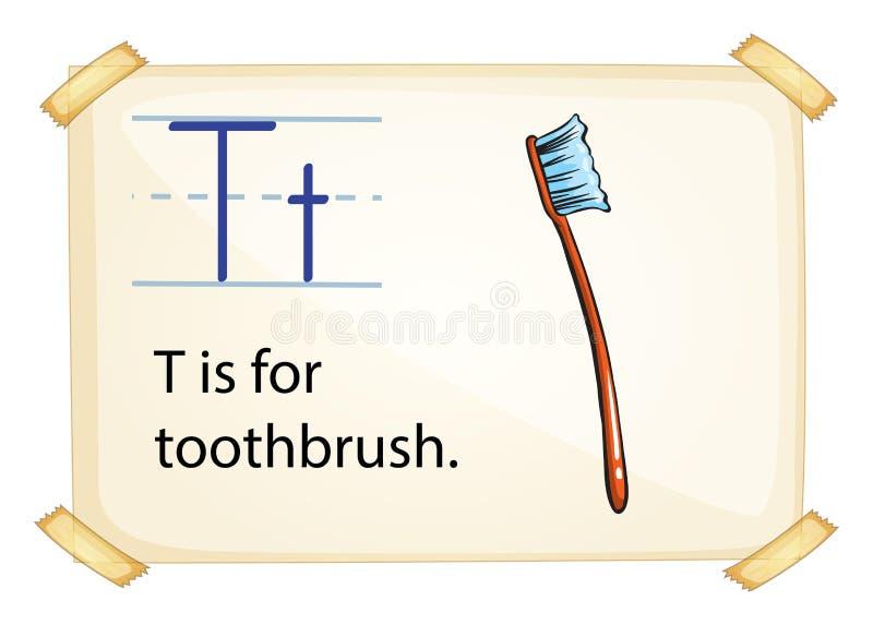 Een brief T voor tandenborstel stock illustratie