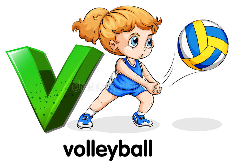 Een brief V voor volleyball vector illustratie
