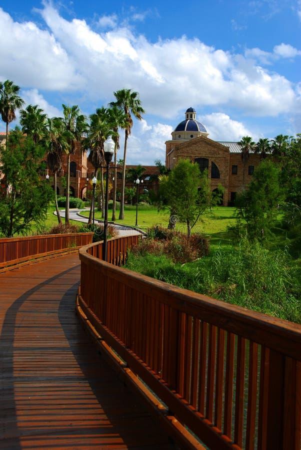 Een brug in universitaire campus royalty-vrije stock foto