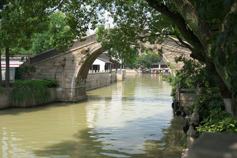 Een brug van Hanshan Temple in Suzhou, China stock foto's