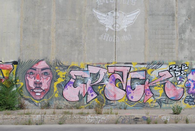 Een brug vernielde met het art. van de straatgraffiti stock fotografie