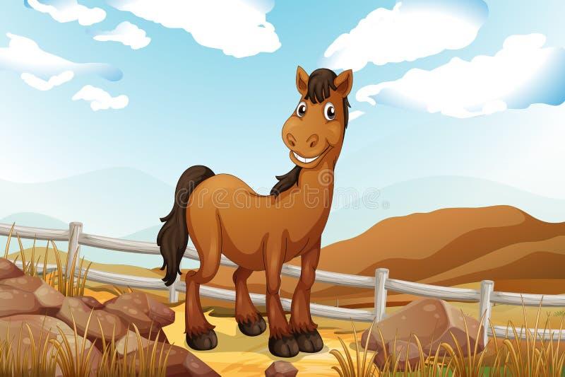 Een bruin paard dichtbij de omheining stock illustratie