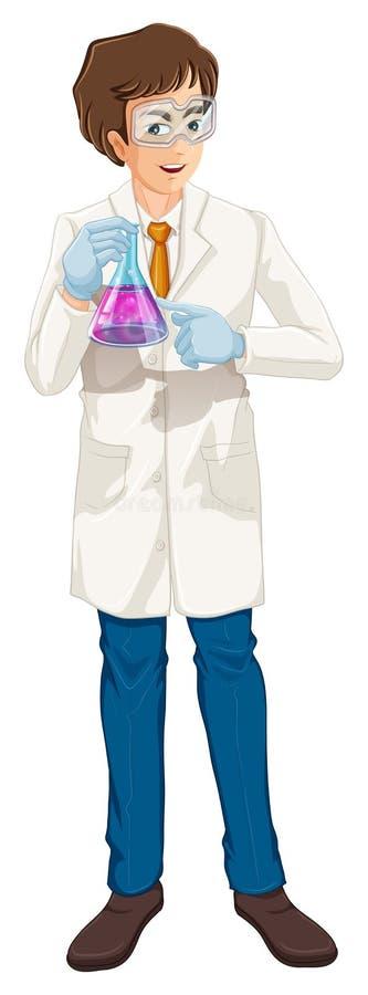 Een bruine haired Wetenschapper die een beker houdt vector illustratie
