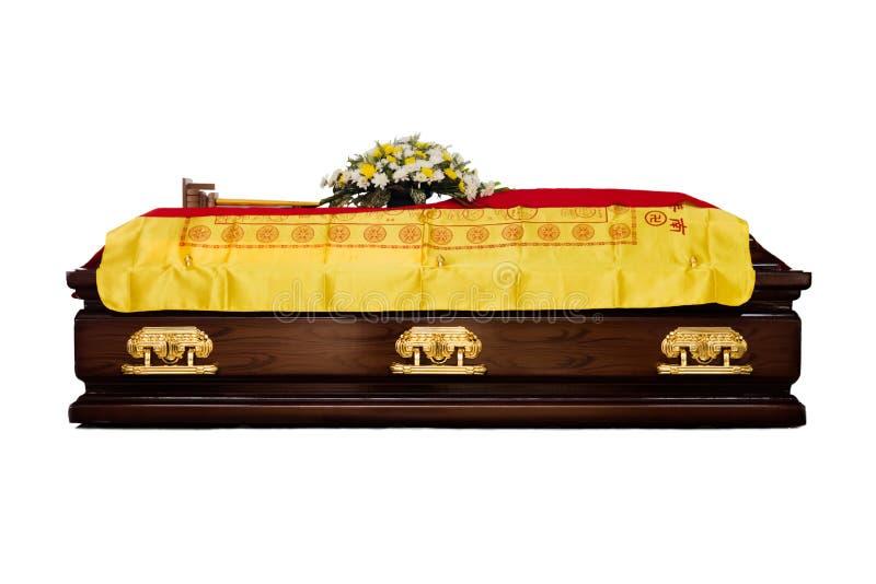 Een bruine Kist bij de traditionele Chinese begrafenisdiensten royalty-vrije stock foto
