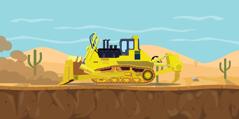 Een bulldozer zwaar materiaal op woestijn met cactus als achtergrond vector illustratie
