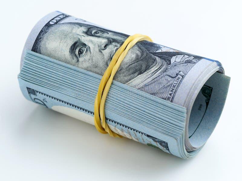 Een bundel van geld bond met een elastiekje stock fotografie