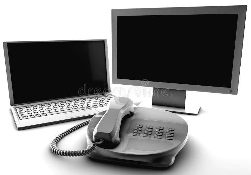 Een bundel van netto TV en de moeilijke situatie telefoneren stock illustratie