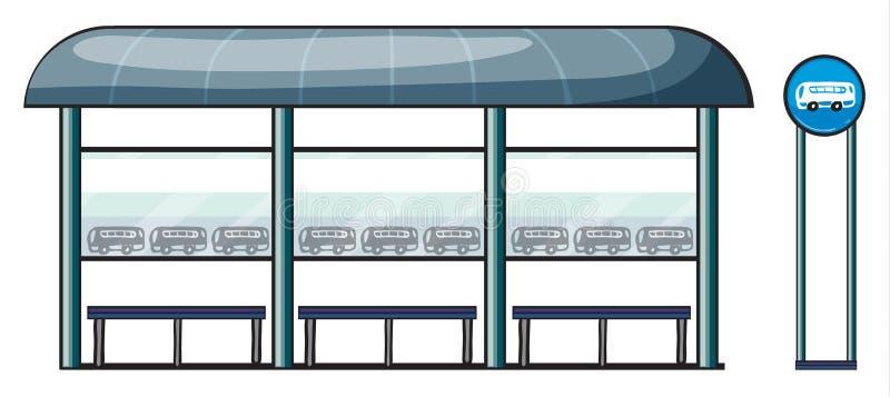 Een bushalte royalty-vrije illustratie