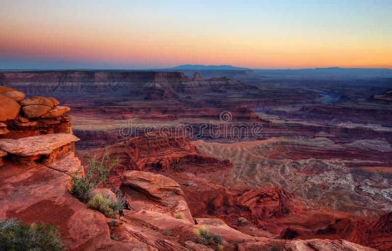 Een Canyonland-Zonsondergang stock afbeelding