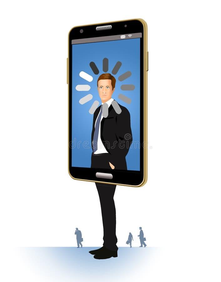 Een carrière die en nergens gaand heeft geblokkeerd is hier geïllustreerd Een mens binnen een cellphone heeft een spinnewielpicto vector illustratie