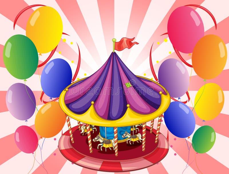 Een carrousel op het centrum van de ballons stock illustratie